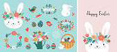 Happy Easter card template - cute bunny, eggs, birds and flowers elements, vector illustration