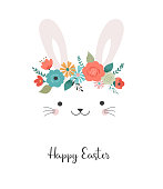 Happy Easter card template - cute bunny with flower crown, vector illustration
