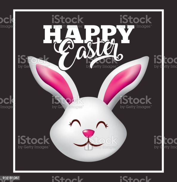 Happy easter card cute head rabbit animal black background vector id916181082?b=1&k=6&m=916181082&s=612x612&h=us3qxtqb ipu0mjcdnilxo7x7z8x6nteh7xulrk7xzw=