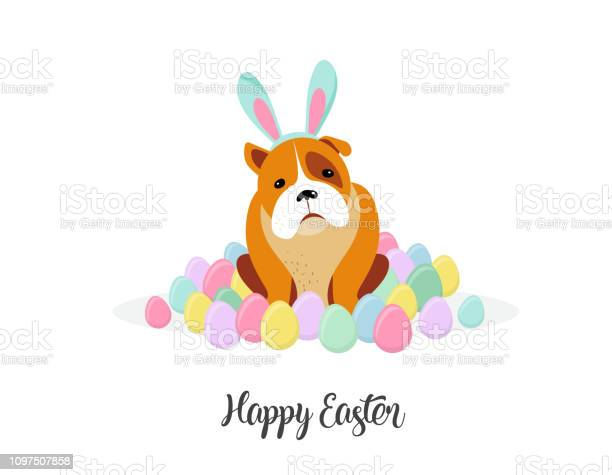 Happy easter card dog wearing bunny costume surrounded by easter eggs vector id1097507858?b=1&k=6&m=1097507858&s=612x612&h=payycq6jdkgmwti nip6pcn qhtmcklvhbp26drou18=