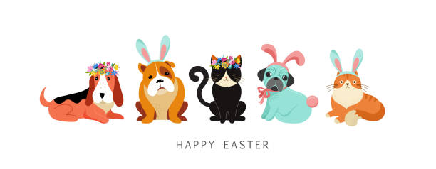 Happy Easter card, dogs and cats wearing bunny costumes, holding basket with eggs Happy Easter card, dogs and cats wearing bunny costumes, holding basket with eggs animal costume stock illustrations