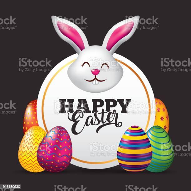 Happy easter card face rabbit cute eggs dark background vector id916180530?b=1&k=6&m=916180530&s=612x612&h=ahyg9yb t1fuqns3ismmz6skjtw9wchy4n1t41dkroo=