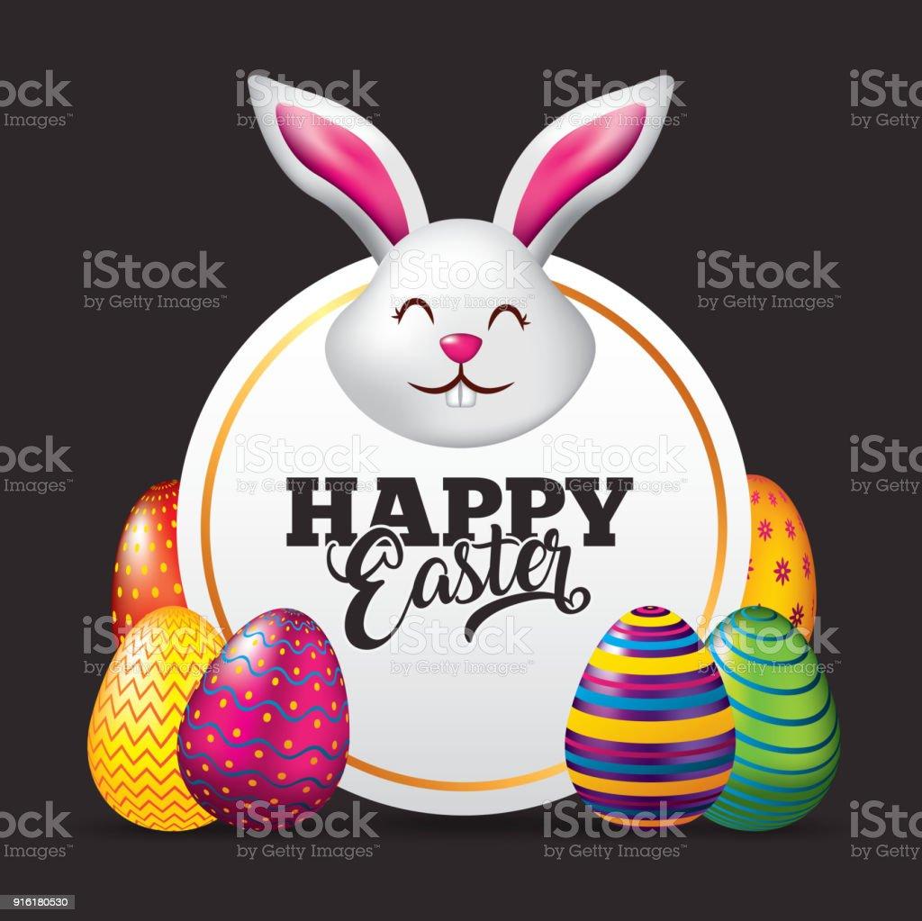happy easter card face rabbit cute eggs dark background vector art illustration