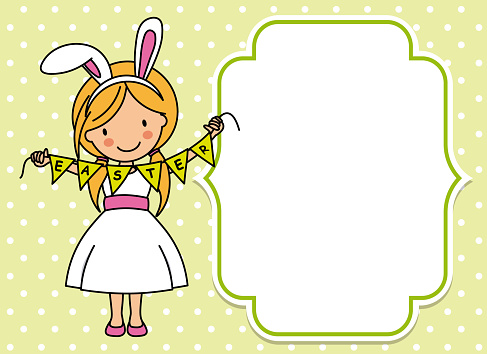 Happy easter card. Girl dressed as a rabbit