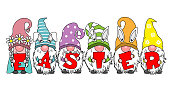 Happy easter card. Gnomes with the word easter. Isolated vector