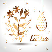happy easter card golden with egg decorated and flowers vector illustration design
