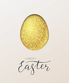 Happy Easter card. Vector golden paper egg and Happy Easter text.