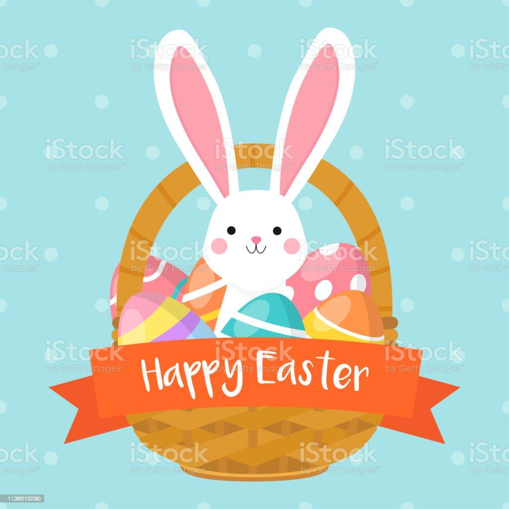 Glückliche Osterkarten-Vektordarstellung. Osterkorb mit niedlichem Hasen und bunten Ostereiern. - Lizenzfrei Band Vektorgrafik