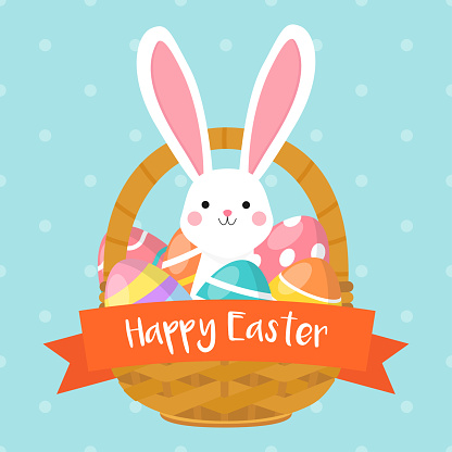 Happy Easter card vector illustration. Easter basket with cute bunny and colorful Easter eggs.