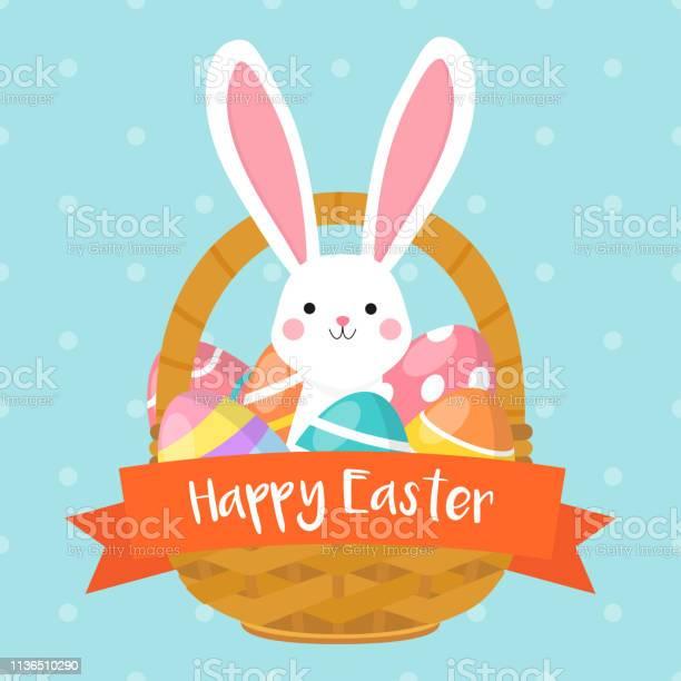 Glückliche Osterkartenvektordarstellung Osterkorb Mit Niedlichem Hasen Und Bunten Ostereiern Stock Vektor Art und mehr Bilder von Band