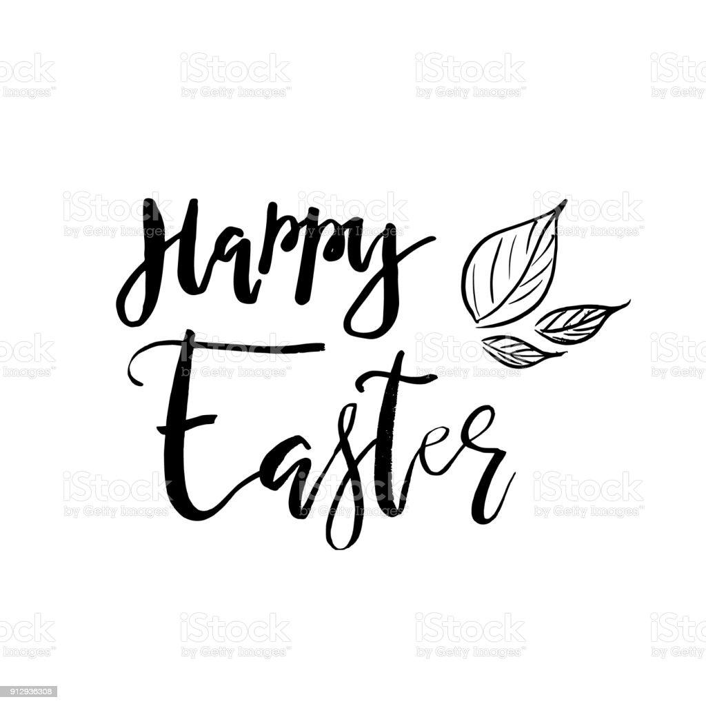 Tarjeta De Pascua Feliz Con Texto De Caligrafía Vector Plantilla De ...