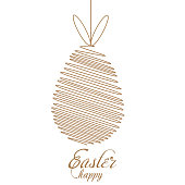Happy Easter card with egg and rabbit. Vector