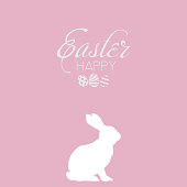 Happy Easter card with egg and rabbit. Vector.