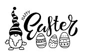 Happy Easter card with Gnome, lettering, easter eggs. Black and white vector illustration for cards, mugs, home decor, shirt design, invitations. Black Cartoon sketch on white for Easter holiday