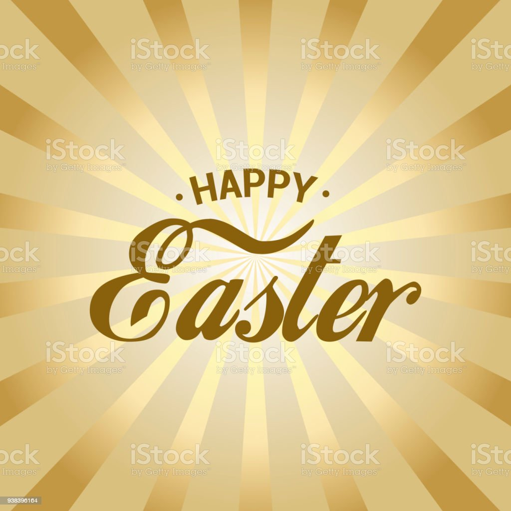 happy easter card with gold rays vector royalty free happy easter card with