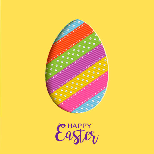 happy easter card with lettering, cut out easter egg - stripped pattern stock illustrations, clip art, cartoons, & icons