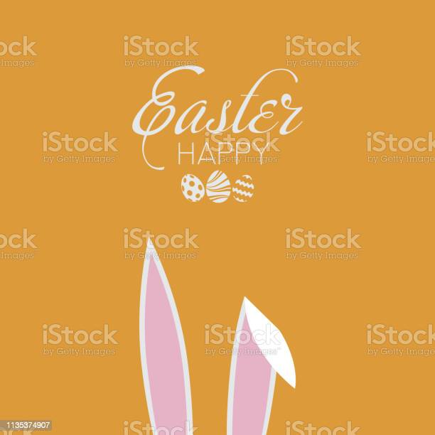 Happy easter card with rabbit ears vector vector id1135374907?b=1&k=6&m=1135374907&s=612x612&h=34hqr0lvjtpg qqq9n41mcmdaxhg6ddjm4ckjvxiw0s=