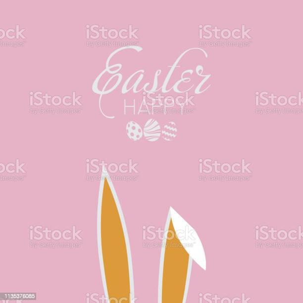 Happy easter card with rabbit ears vector vector id1135376085?b=1&k=6&m=1135376085&s=612x612&h=syly enxzcn4qnpaqzqyxrdjga2gmd9e556yydd8e o=