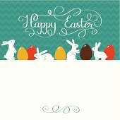 Easter greeting card with lettering and copy space.  Chevron seamless pattern on the background.