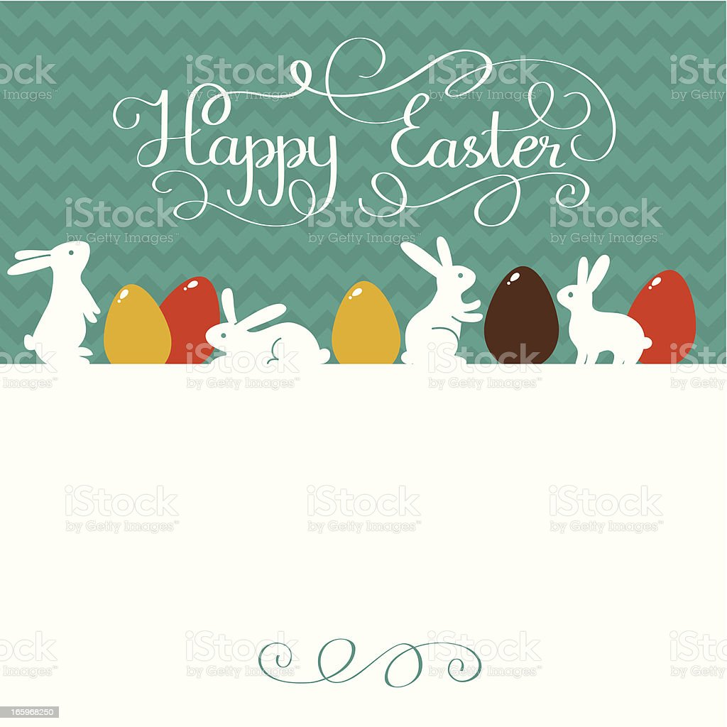 Happy Easter card with rabbits and lettering vector art illustration