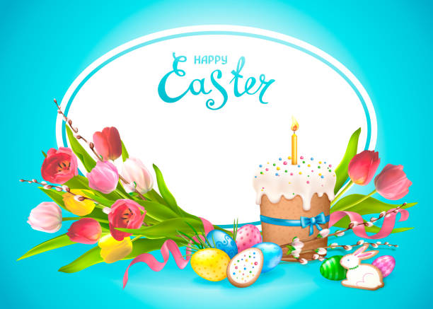 happy easter kollektion - osterkerzen stock-grafiken, -clipart, -cartoons und -symbole