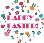 happy easter colorful circle icon, with happy easter text in the center.