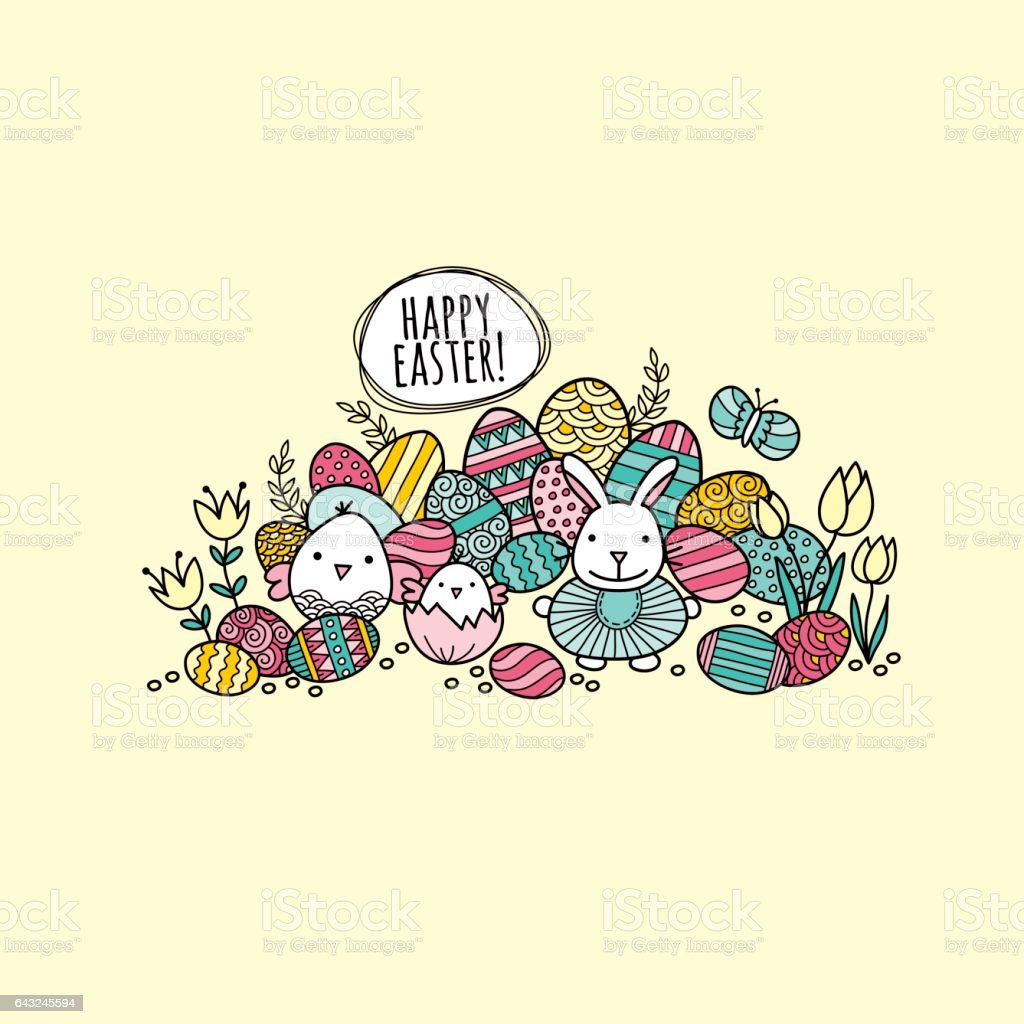 Happy Easter Colorful Eggs Hand Drawn Doodle Vector vector art illustration