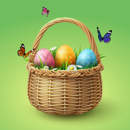 Happy Easter, colorful eggs in basket with butterfly and grass