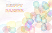 Happy easter, colorful pattern line art of easter eggs on white background with text. vector illustration.