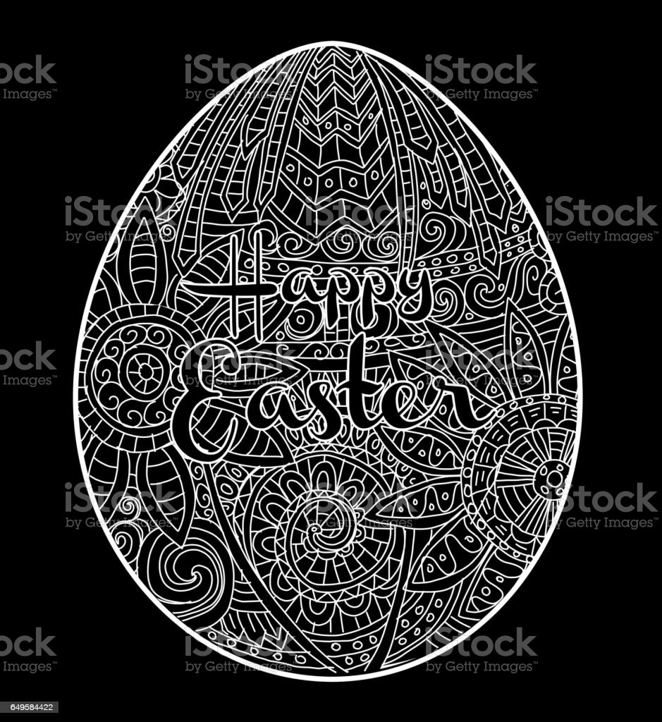 Happy Easter coloring book page egg design with text greeting vector art illustration