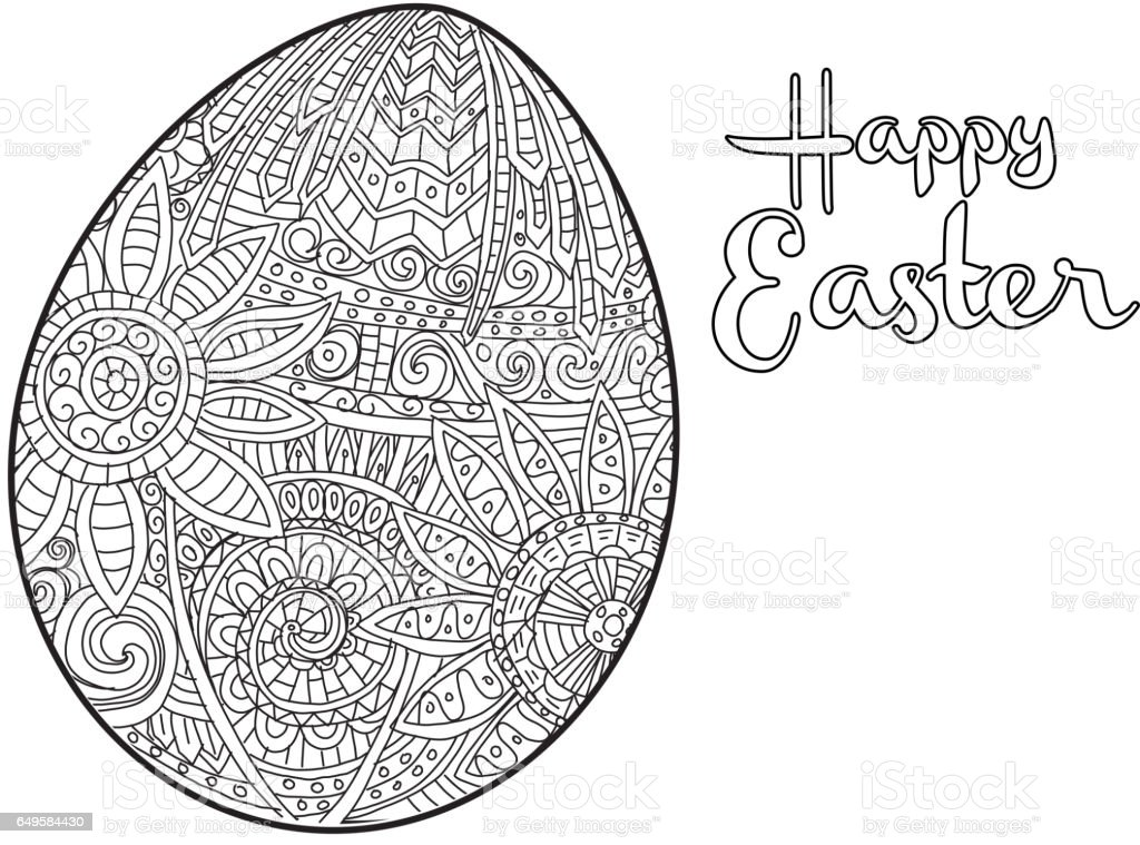 Happy Easter Coloring Book Page Egg Design With Text Greeting Royalty Free