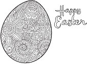 Happy Easter coloring page tangle doodle design egg with text greeting