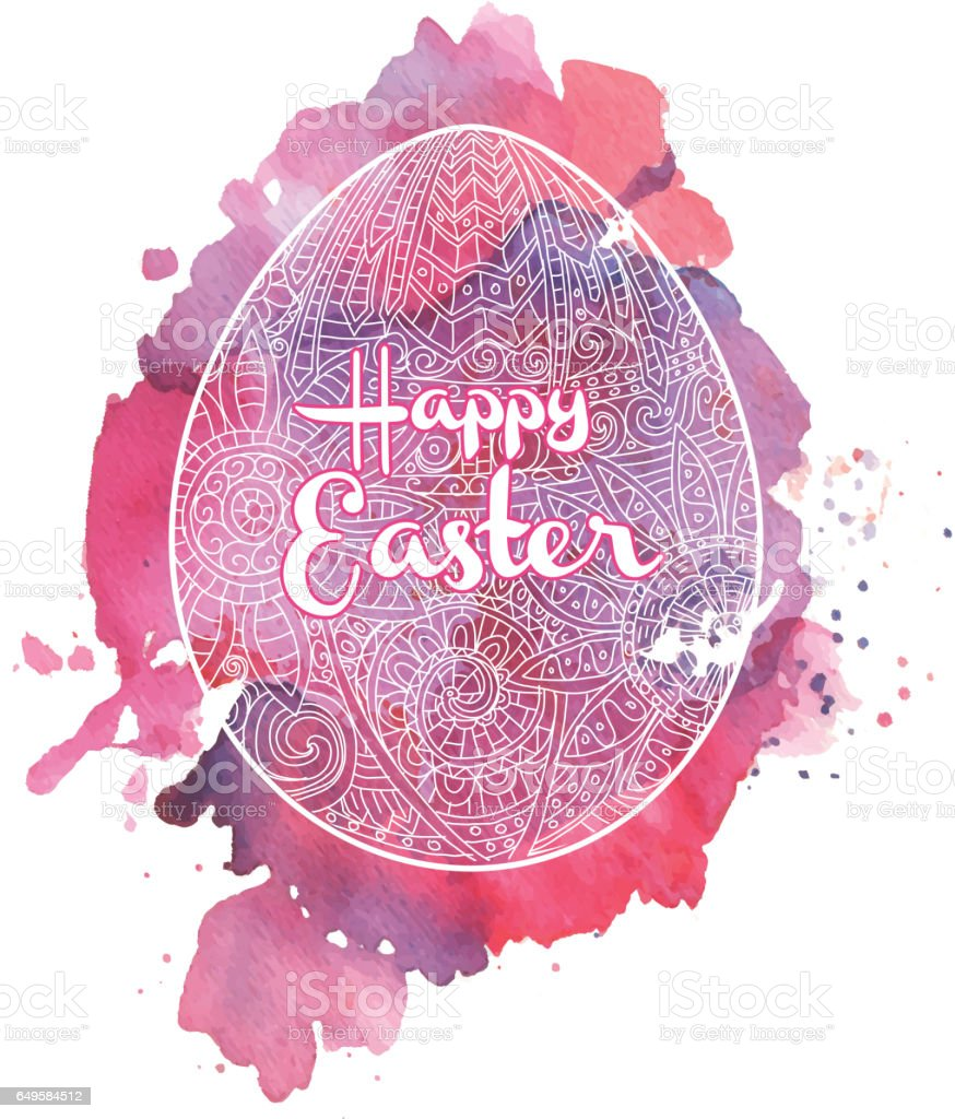 Happy Easter Coloring Book Page Egg Design With Text Greeting Stock ...