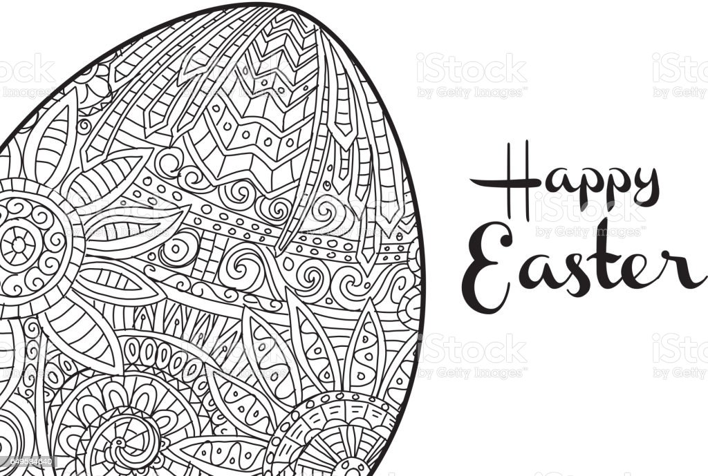 Happy Easter Coloring Book Page Egg Design With Text Greeting Royalty Free Stock Vector Art