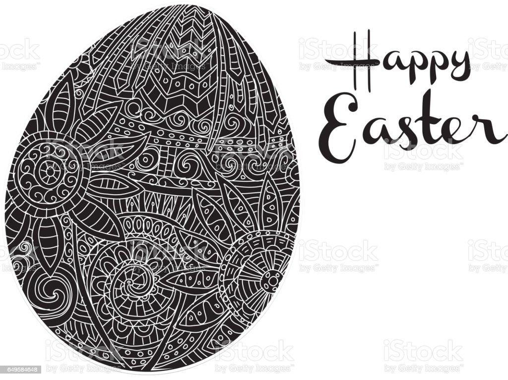 Mutlu Paskalya Boyama Kitabı Sayfası Yumurta Tasarım Metin Tebrik