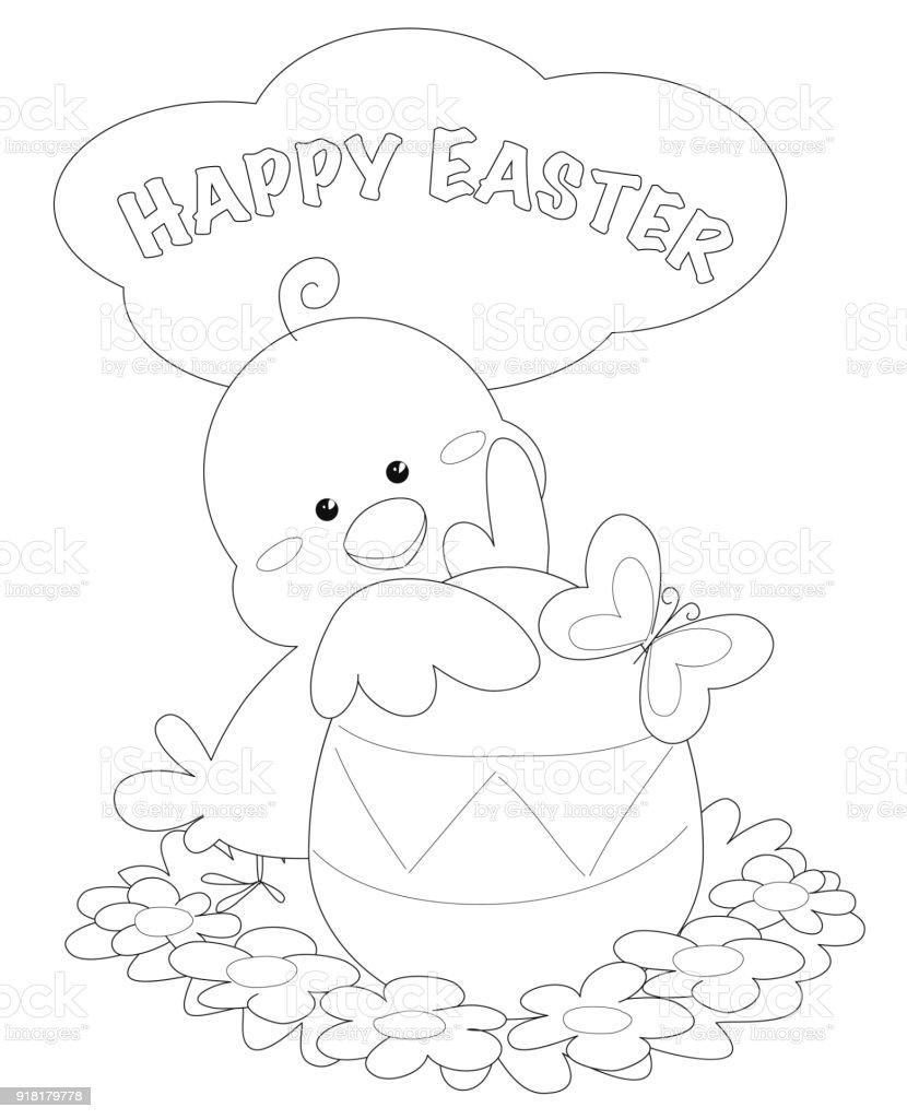 Carte De Voeux De Joyeux Pâques Coloriage Cliparts Vectoriels Et