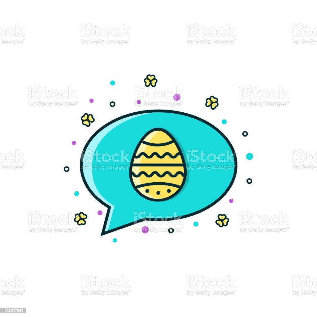 Happy Easter Comic Speech Balloon Message Box Speech Bubble With Egg ...