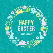 Happy Easter greeting card template. Stylized and plain graphic design. Vector illustration.