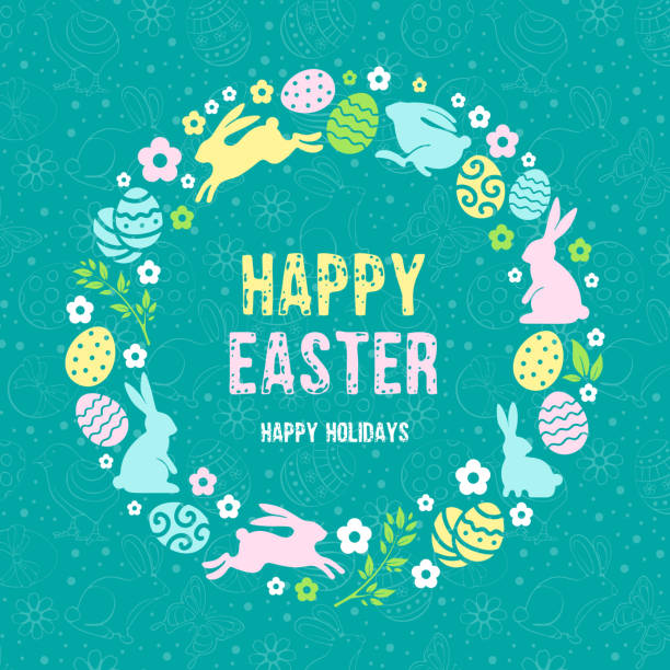 happy easter congratulation - easter stock illustrations