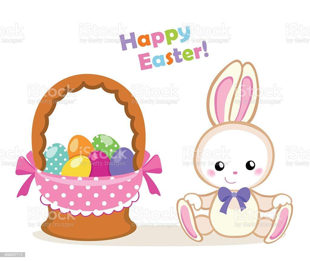Frohe Ostern Süße Ostern Hase Sitzt Mit Korb Stock Vektor Art Und