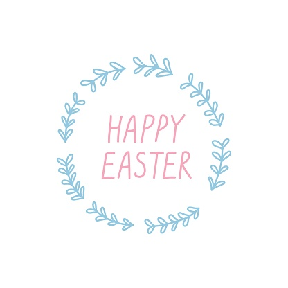 Happy Easter. Cute floral wreath and lettering on white background.