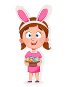 Happy Easter. Cute little girl with basket of eggs wears bunny ears. Funny cartoon character. Stock vector illustration on white background