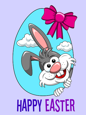 Happy Easter Cute rabbit bunny peek a boo from egg shape banner