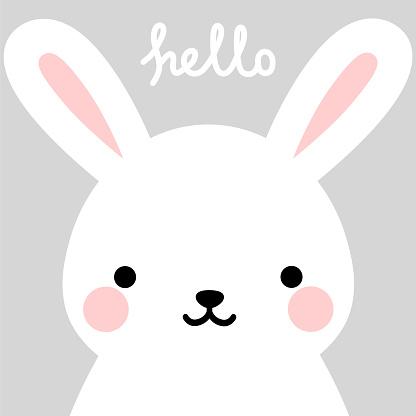 Happy Easter Cute Rabbit Character Vector Design