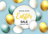 Happy Easter Cute Sale Poster  Background with Eggs. Vector Illustration EPS10