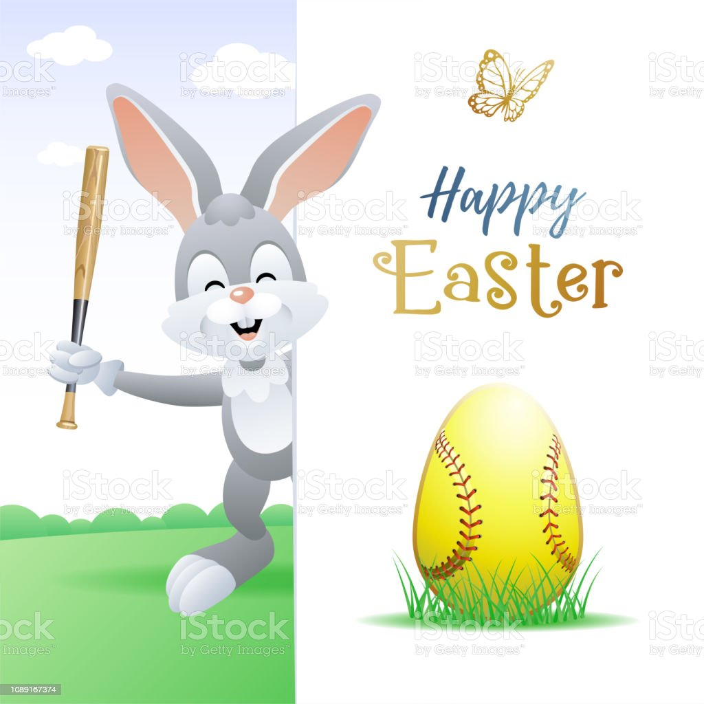Happy Easter. Sports greeting card. Cute Rabbit with Softball Egg and...