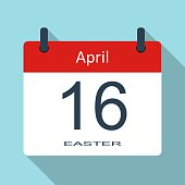 Happy Easter day. April 16th. Vector flat daily calendar icon. Vector illustration.