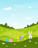 Happy Easter day background. Spring background with lawn, Easter Bunny and Easter eggs. Vector illustration.