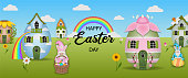 happy easter day banner with egg-shaped houses and gnomes vector