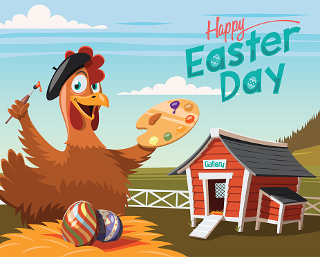 Happy Easter Day, chicken artist with decorated eggs